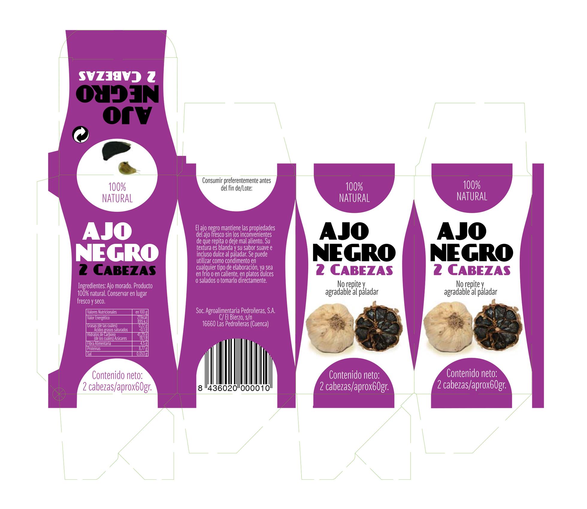 diseño de packaging ajo negro cuenca